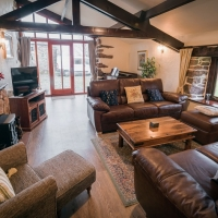 Wastwater Cottage 40ft open plan living and dining area with brand new Italian leather sofas