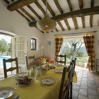 Spacious Dining Room leading to Garden and Pool